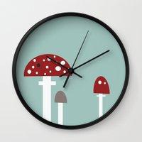 mushrooms Wall Clocks featuring mushrooms by liva cabule