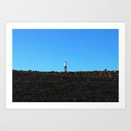 Little man on a hill. Art Print
