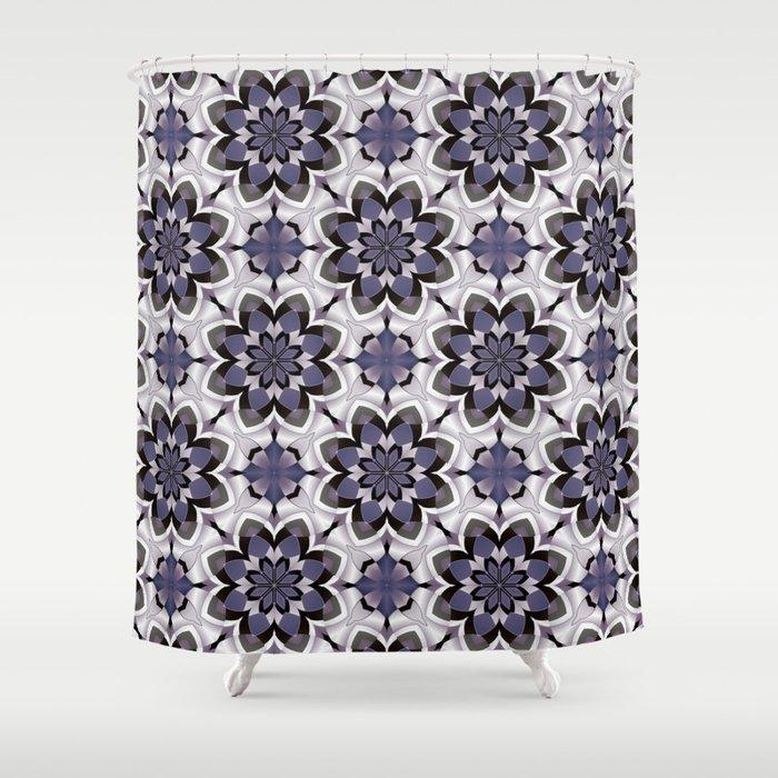 Plum Black and White Mosaic Pattern Shower Curtain