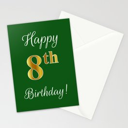 """Elegant """"Happy 8th Birthday!"""" With Faux/Imitation Gold-Inspired Color Pattern Number (on Green) Stationery Cards"""