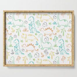 Colorful dinosaur pattern on white Serving Tray