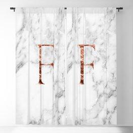 Monogram rose gold marble F Blackout Curtain