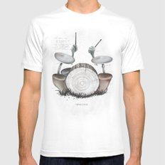 Mushroom drums Mens Fitted Tee White LARGE