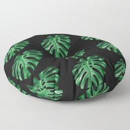 Split leaf Philodendron pattern on dark background Floor Pillow
