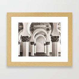The Historic Arches in the Synagogue of Santa María la Blanca, Toledo Spain Framed Art Print