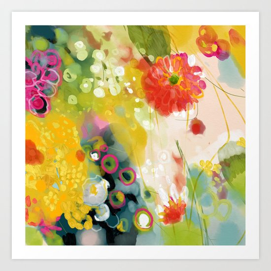 abstract floral art in yellow green and rose magenta colors by lalunetricotee