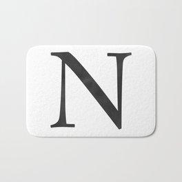 Letter N Initial Monogram Black and White Bath Mat