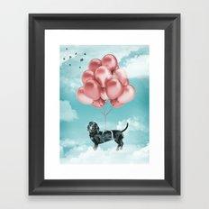 Dachshund Drift Framed Art Print