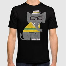 Rodney the preppy elephant Black MEDIUM Mens Fitted Tee