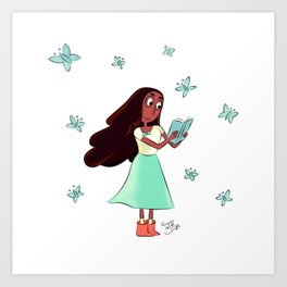 Connie and Buterflies Art Print