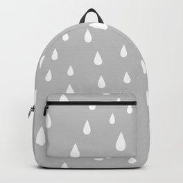 White Raindrops pattern on Light Grey background Backpack