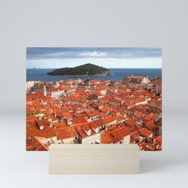 Old Town of Dubrovnik and Lokrum Island Mini Art Print