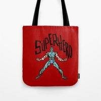 superhero Tote Bags featuring SuperHero by Logan_J