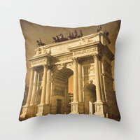 lee pace Throw Pillows featuring Arco della Pace Milan by Louisa Catharine Photography And Art