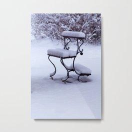 Concept Baden-Wurttemberg : Graveyard bench in snow Metal Print