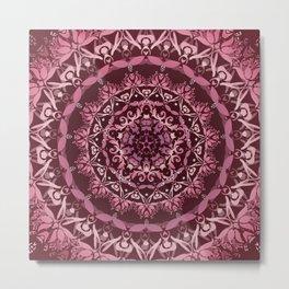 Dusky Pink Floral Damask Mandala Metal Print