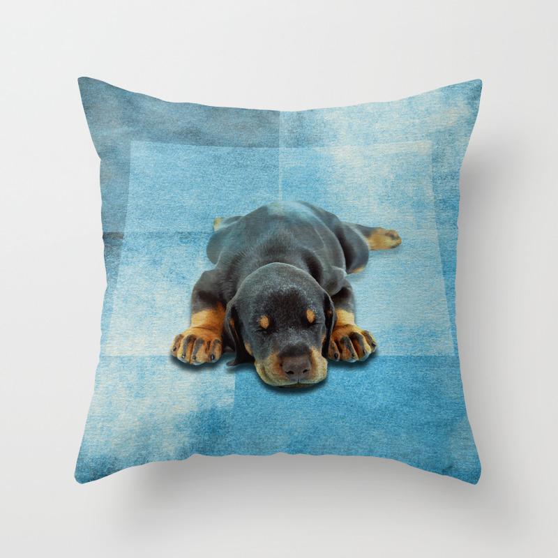 Dog Puppy Doberman Pinscher Throw Pillow Case