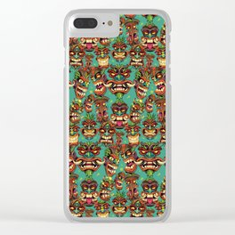 Tiki Head Pattern Clear iPhone Case