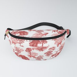Classical Red Toile Forest Deer Fox Pattern Fanny Pack