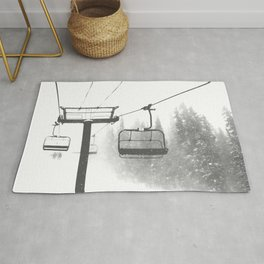 Chairlift Abyss // Black and White Chair Lift Ride to the Top Colorado Mountain Artwork Rug
