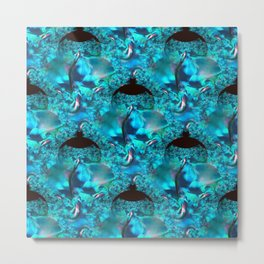 Blue Ornate Leaf Fractal Metal Print
