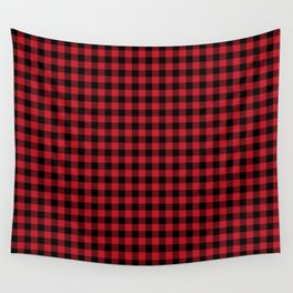 Winter red and black plaid christmas gifts minimal pattern plaids checked Wall Tapestry