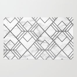 Geometrical white gray faux silver marble Rug