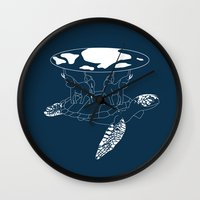 discworld Wall Clocks featuring Discworld by Rebecca McGoran
