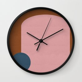 Modern Shapes in Blush, Navy, and Cinnamon Wall Clock