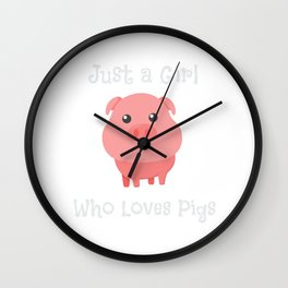 Just a Girl Who Loves Pigs Cute Baby Pig Piglet Wall Clock