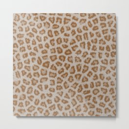 Hipster white brown cheetah animal print pattern Metal Print