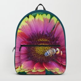 Bee working in a red Sunflower Backpack