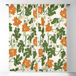 Orange Vintage Flower Pattern Blackout Curtain