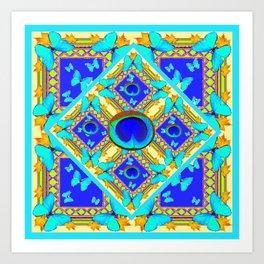 Blue Art Nouveau Turquoise Butterfly Designs Art Print