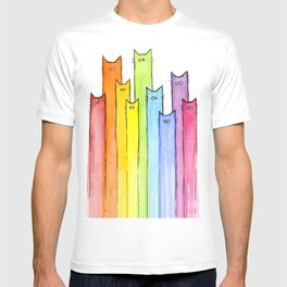 Cat Rainbow Watercolor Pattern T-shirt