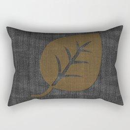 Giant Gold Leaf Black Denim Rectangular Pillow