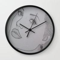 angelina jolie Wall Clocks featuring Angelina Jolie by Natasha Lake