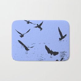 Silhouette Of A Flock Of Seagulls Over Water Vector Bath Mat