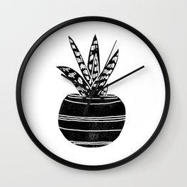 Aloe houseplant linocut black and white minimal modern illustration Wall Clock