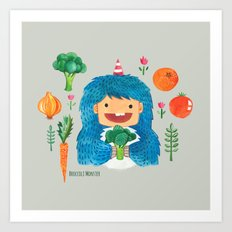 Broccoli Veggie Monster Art Print