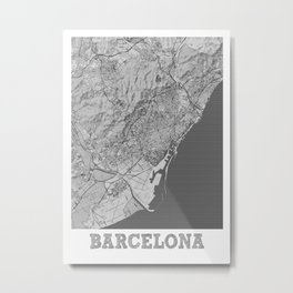 Barcelona Pencil City Map Metal Print