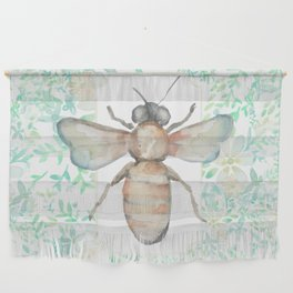 Garden Bee and Blooming Flowers Wall Hanging