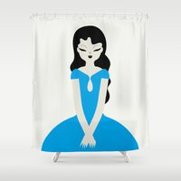 dress Shower Curtains featuring Blue dress by Marco Recuero