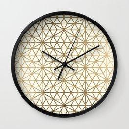 Modern geometric gold stars pattern on ivory Wall Clock