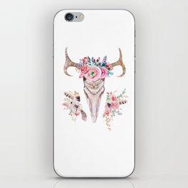Deer skull with feathers and flowers iPhone Skin