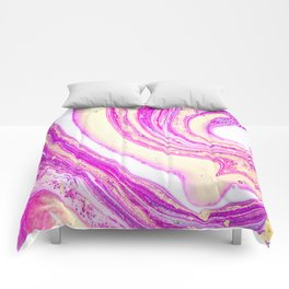 Marble pink and gold Comforters
