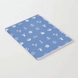 Nautical Symbols Blue Background Notebook