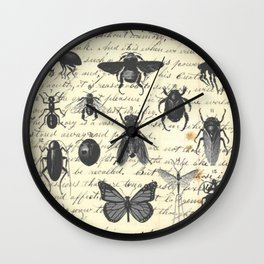 Insect Study on antique journal paper Wall Clock