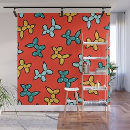 Balloon Animal Dogs Pattern in Red Wall Mural