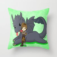 how to train your dragon Throw Pillows featuring How to Train Your Dragon 2 by Mayying